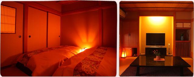 ソファーと和風ベッドルームのお部屋イメージ